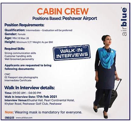 Peshawar Air Blue Jobs Interview Feb 2021 Latest