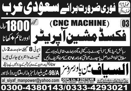 Today Sunday Express Newspaper Jobs - Saudi Arab Advertisement for Fixed Machine Operator
