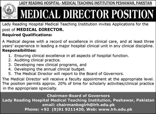 Lady Reading Hospital-Medical Teaching Institution Jobs 2021