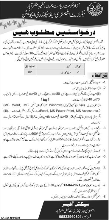 Azad Jamu kashmir Riyasat Muzaffarabad jobs 2021