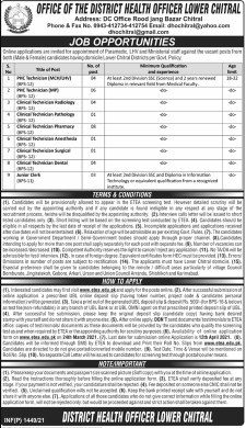 District Health Officer Lower Chitral Jobs 2021 Apply Via ETEA Latest