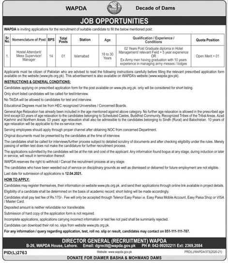 www.wapda.gov.pk/careers Jobs 2021 Download Form