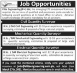 Site Engineering PVT Ltd. Jobs 2021 for Civil, Mechanical & Electrical Quantity Surveyor Latest