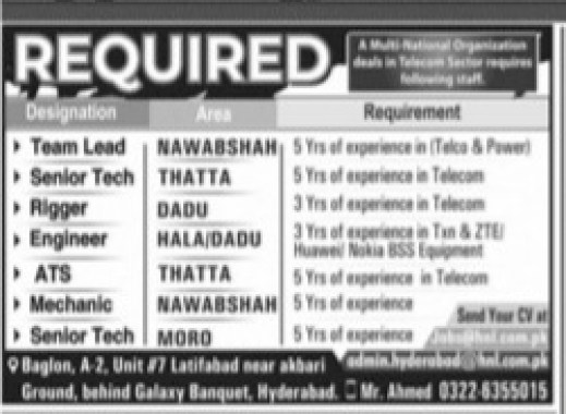 Private Jobs in Sindh for Team Lead, Senior Tech, Rigger, Engineer, ATS, Mechanic, Senior Tech