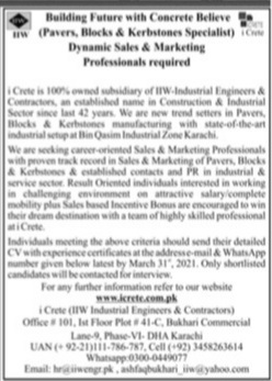 Private Jobs in Karachi for Sales & Marketing Staff 2021 Jang Ads