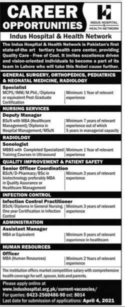 Indus Hospital & Health Network Jobs 2021 Apply Online Latest Lahore