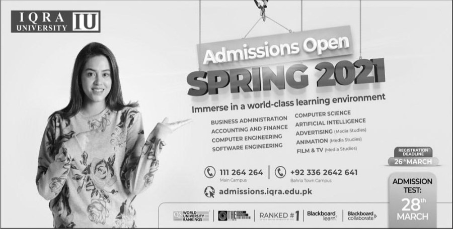 Iqra University Admissions open Spring 2021