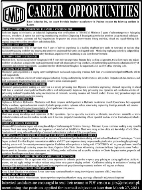 EMCO Lhr March Jobs 2021 Advrts