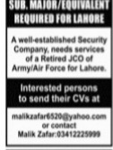 Security Company Needs Retired JCO Army/Air Force jobs advertisement 2021
