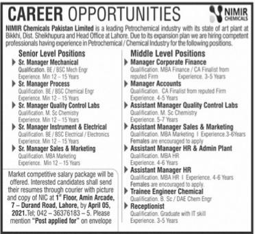 Lahore Jobs 2021 Advertisement Jang Paper - NIMR Chemicals Pakistan Limited