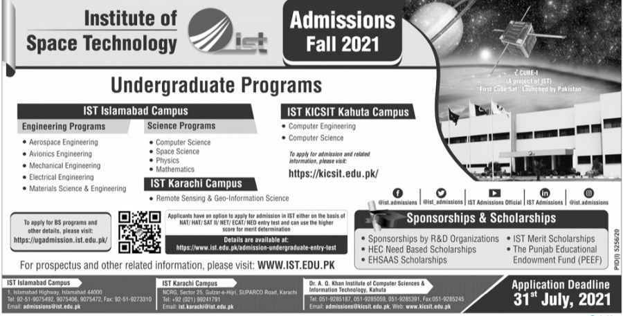 Institute Of Space Technology Admissions 2021