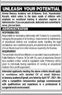 Al-Bawany Academy Karachi Jobs 2021 for Administrator Latest
