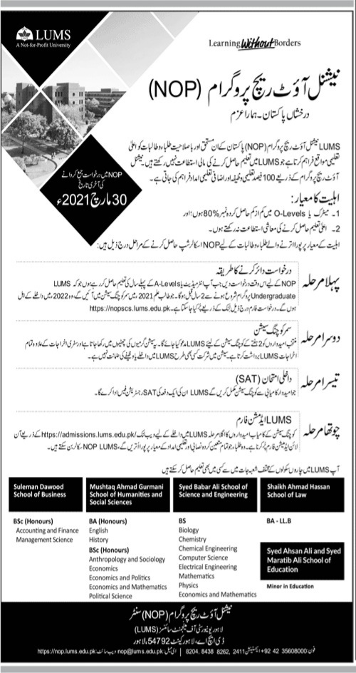 Lahore University of Management Sciences Admissions