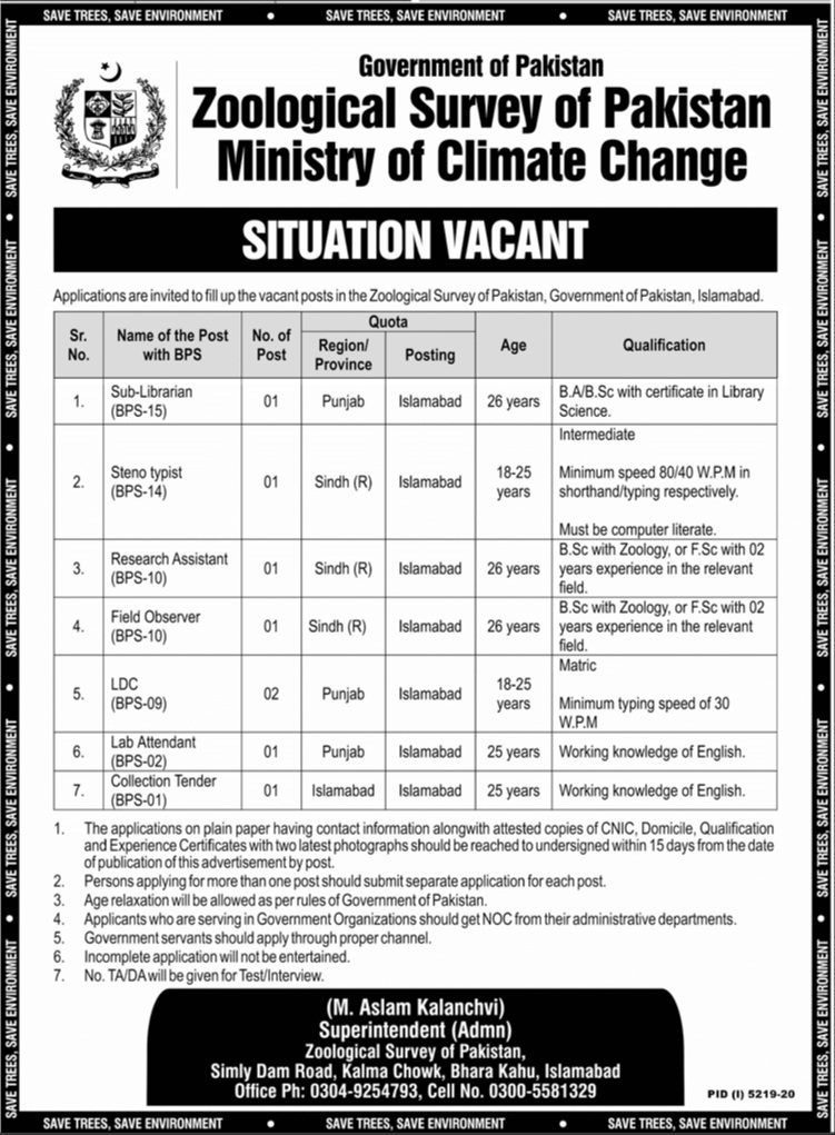 Zoological Survey of Pakistan Jobs 2021