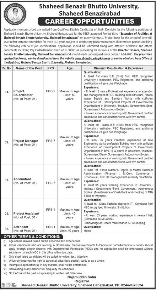 SBBU Shaheed Benazirabad Jobs 2021 Application Form Latest
