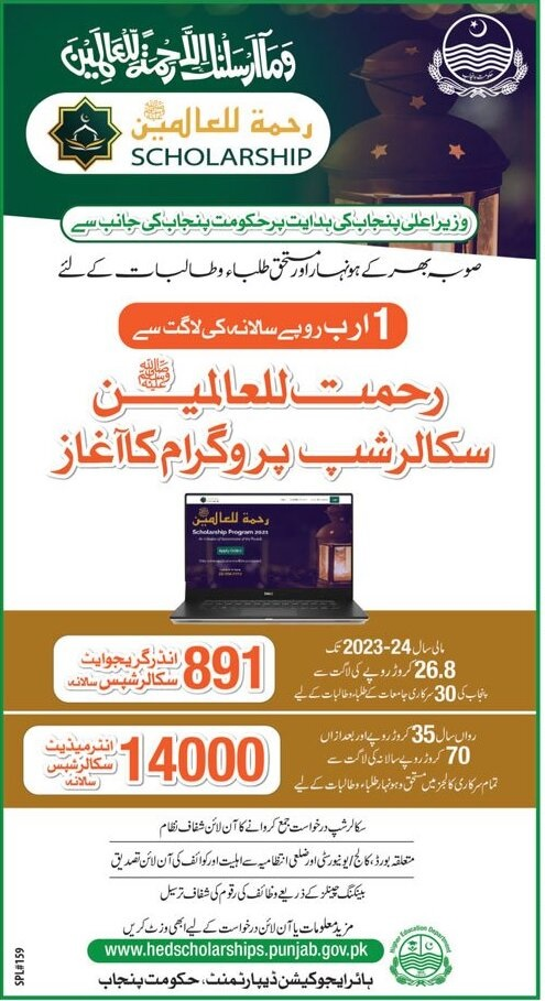 Online Application Form for Rehmatallil Alameen Scholarship