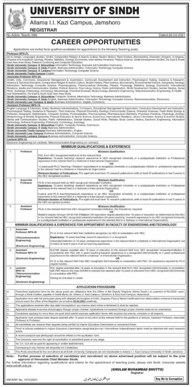 University of Sindh Jamshoro Jobs 2021-Latest Teaching Jobs In Sindh