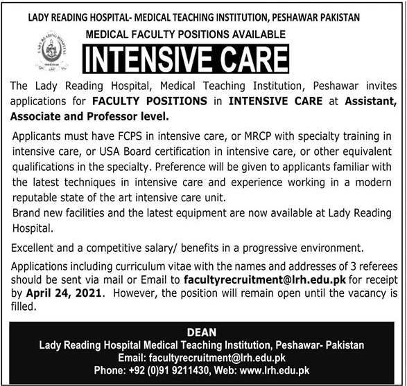 Lady Reading Hospital-Medical Teaching Institution(Intensive Care) Jobs 2021