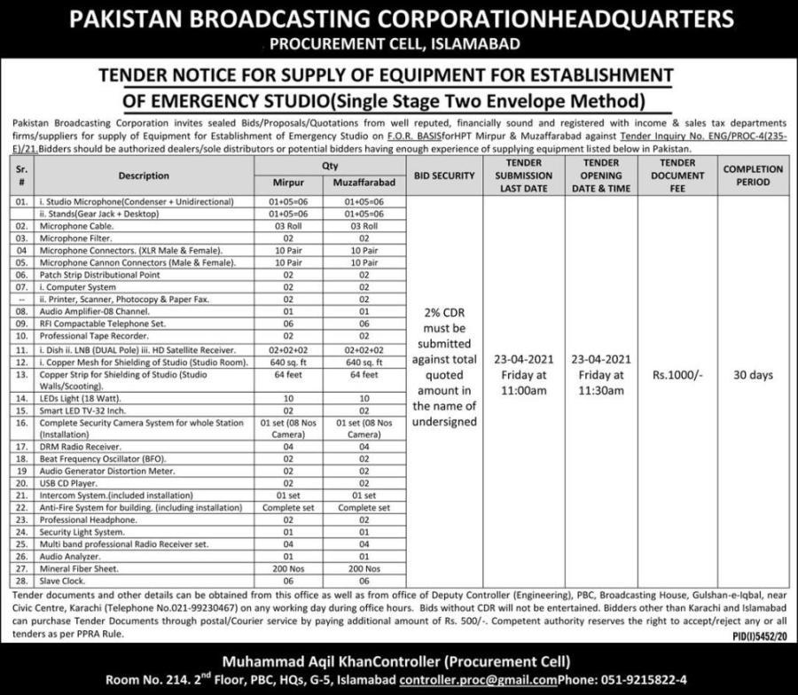 Pakistan broadcasting corporations Headquarter jobs 2021