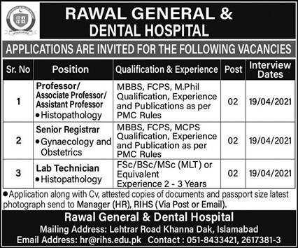Rawal General & Dental Hospital Jobs 2021