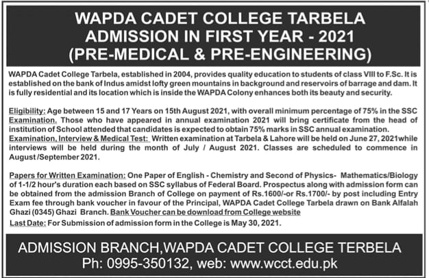 WAPDA CADET COLLEGE TARBELA ADMISSIOSNS IN FIRST YEAR 2021