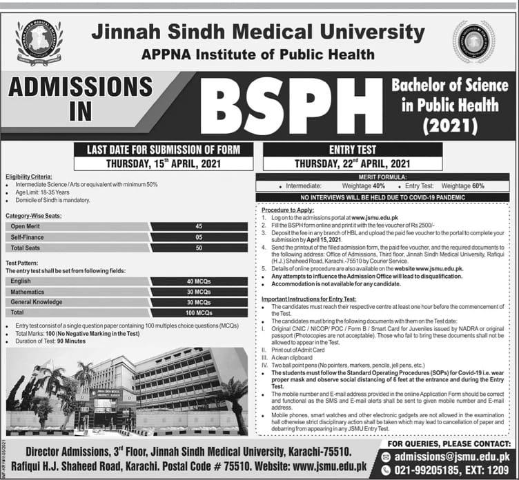 Medical University Jinnah Sindh Admissions in BSPH 2021