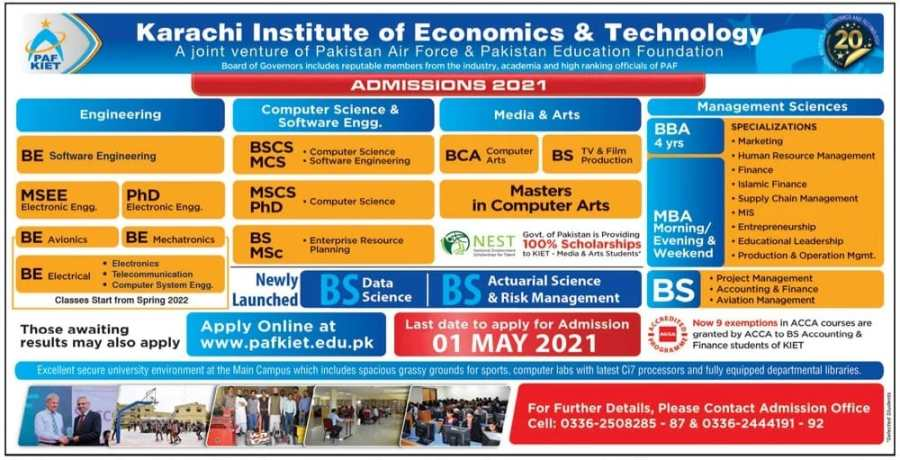 Karachi Institute of Economics and Technology Admissions 2021