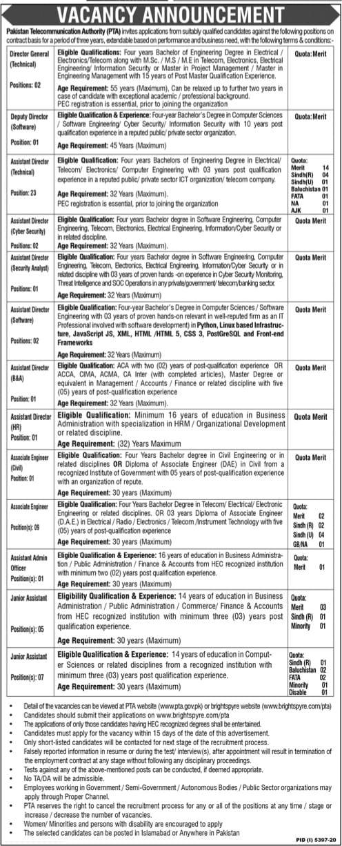 www.brightspyre.com Jobs 2021-Pakistan Telecommunication Authority Jobs