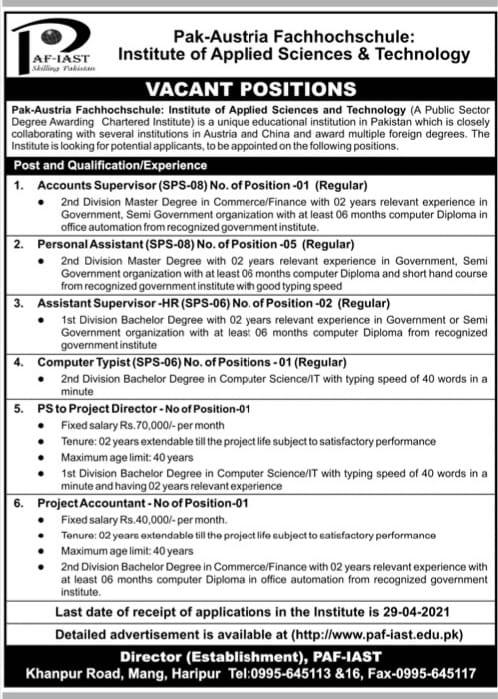 PAF-IAST Jobs 2021 Pak Austria Fachhochschule Institute Advertisement