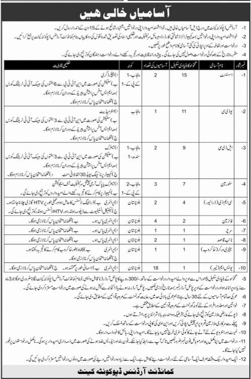 Pakistan Army Quetta Jobs 2021 Ordnance Depot Quetta Cantt Advertisement