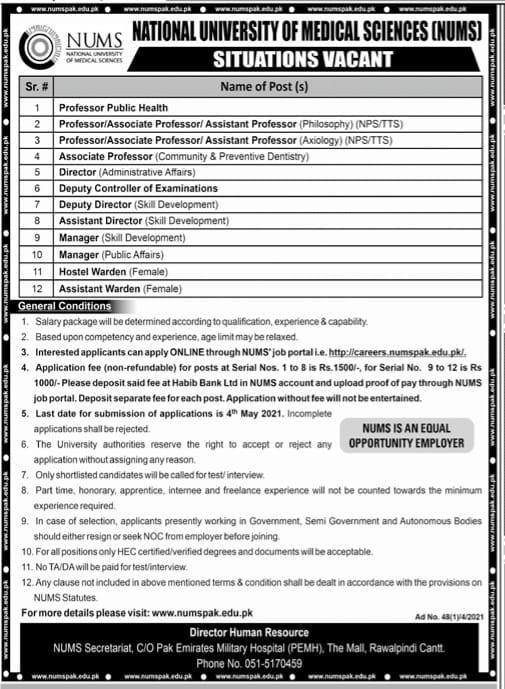 Nation University of Medical Sciences(NUMS) Jobs for Professor Public Health,Assistant Professor,Manager&Assistant Warden April 2021 Advertisement