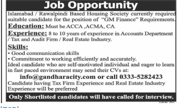 Housing Society (Twin City Based) Jobs 2021 Apply Online