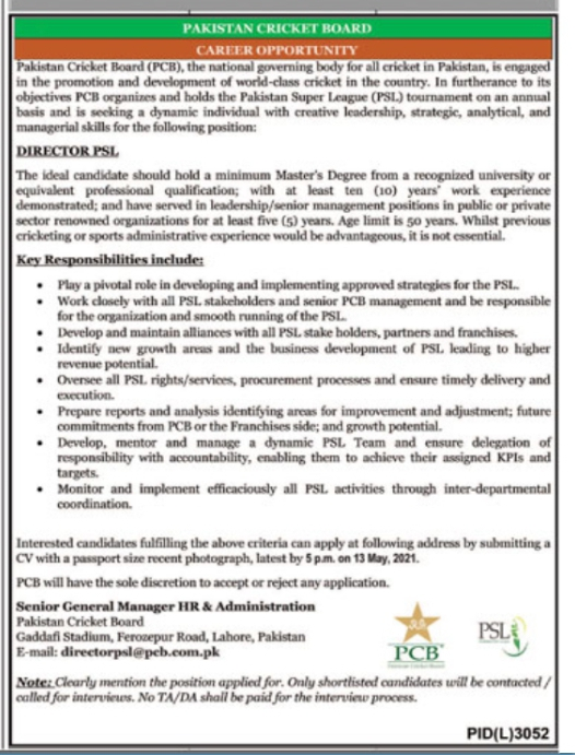 Pakistan Cricket Board Jobs 2021 For Director PSL Latest Lahore