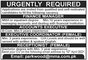 Parkwood@mma.com.pk Jobs 2021 Apply Online