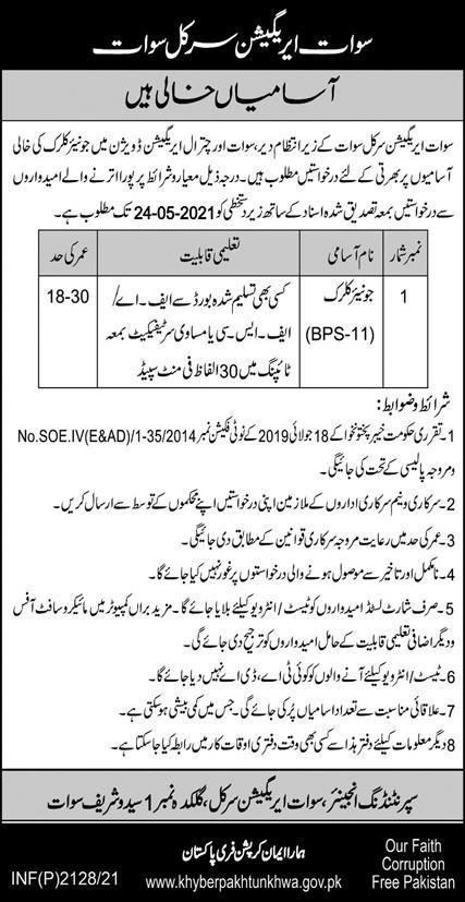 Irrigation Circle Swat Jobs 2021 May For Junior Clerk Latest KPK