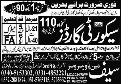 Security Guard Required in Behreen 2021 Latest