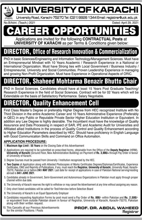 University of Karachi jobs 2021 latest advertisement