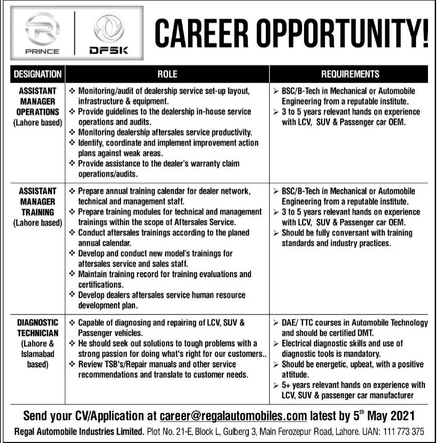 Latest jobs in Lahore  Regal Automobile Industries jobs for Assistant Manager Operations, Assistant Manager Training &Diagnostic Technician May 2021 Advertisement