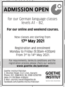 Goethe Institute karachi Admissions open for our German Language Classes levels A1- B2 May 2021 Advertisement