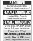 Female Engineer & Graduates Jobs 2021 Apply hrm.bemba@gmail.com Latest