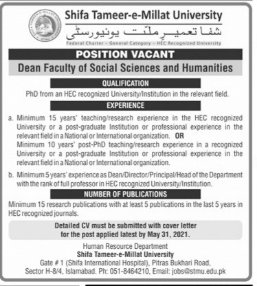 Shifa Tameer -e- Milat University  jobs for Dean Faculty of Social Sciences & Humanities May 2021 Advertisement