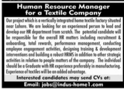 Human resources management jobs 2021 latest advertisement