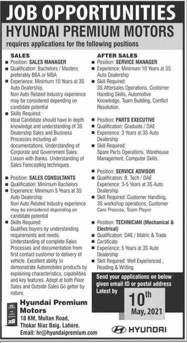 Hyundai Premium Motors jobs for Sales Manager &Sales Consultants May 2021 Advertisement