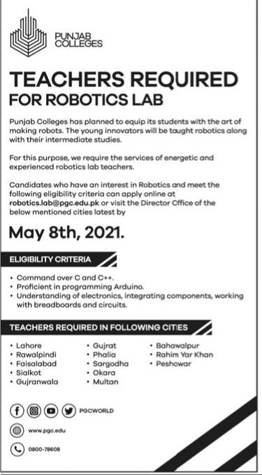 Punjab College Pakistan Jobs 2021 For Teachers Apply Online