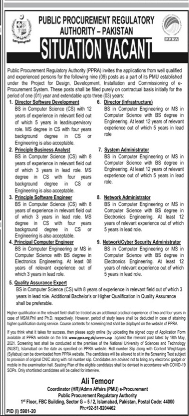 Public Procurement Regulatory Authority Islamabad May Jobs 2021 For Director Software Development,Principle Business Analyst/Software Engineer/Computer Engineer,Director Infrastructure,Quality Assurance Expert,System Administrator ,Network Administrator,Network Cyber Security Administrator Apply Online