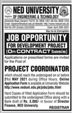 Ned University of Engineering and Technology Jobs 2021