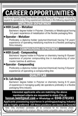 Latest Karachi Jobs for HOD , Operator & Lab Analyst April 2021 Advertisement