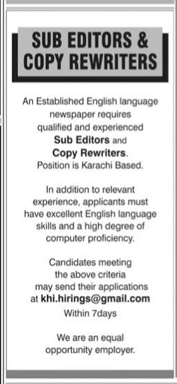 Sub Editors & Copy Rewriters Jobs 2021 Apply khi.hirings@gmail.com latest