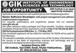 GIK Institute KPK Jobs 2021 for Senior Software Developer Latest
