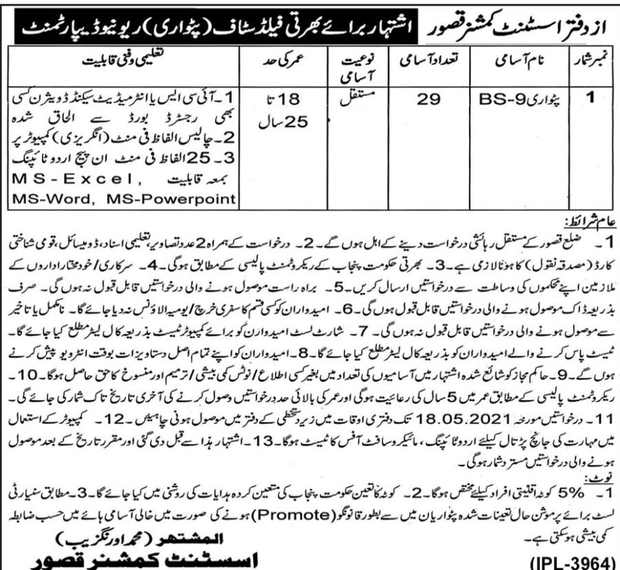 Patwari Jobs in Kasur, Punjab 2021 Advertisement